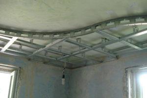 Монтаж подвесного разноуровневого, сложного, криволинейного потолка из ГКЛ